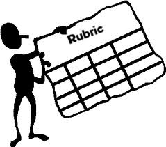 Image of a clip art person holding a blank rubric grid